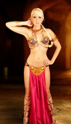 Raychul Moor with a Slave Princess Leia costume http://imdbabes.com/cosplayers/raychul-moore-gamer-cosplayer-and-web-celebrity/