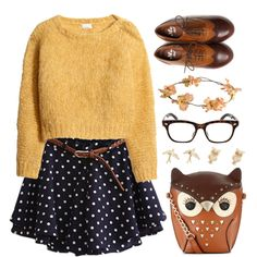 What Would Athena Wear?: chunky yellow sweater, polka dot skirt, oxfords, tortoiseshell glasses & owl purse.