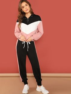 SweatyRocks Casual Colorblock Pullover And Pants Set Stand Collar Long Sleeve Top Tapered Pants 2018 Autumn Women 2 Piece Set - multi,xs Sporty Outfits For Women, Sport Outfits, Cute Outfits, Clothes For Women, Legging Outfits, Two Piece Outfit, Clothing Co, Color Blocking, Long Sleeve Tops