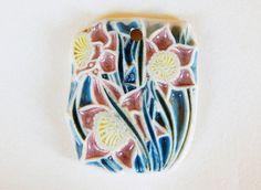 Handmade Ceramic pendant pink flowers Pendant