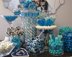 The Crying Cook : Bridal Shower Discipline - Whole 30 Challenge - Day 8 Blue Candy Bars, Blue Candy Buffet, Candy Table, Candy Buffet Tables, Yellow Candy, Buffet Ideas, Baby Shower Parties, Baby Shower Themes, Baby Boy Shower