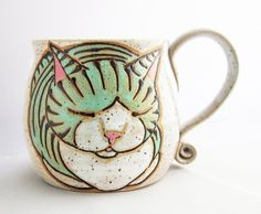 Cat Mug, pottery mug, christmas gift, cat loaf mug, cat art , holds approx 13 oz and is dishwasher and microwave safe.