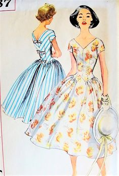 1950s BEAUTIFUL Party Dress Pattern SIMPLICITY 1987 V Neckline and Back, Figure Flattering Design Bust 36 Vintage Sewing Pattern FACTORY FOLDED