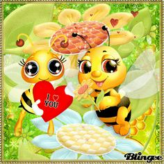 Cartoon Bee, Cute Cartoon, Good Morning Snoopy, Bee Pictures, Foto Gif, Happy Birthday Wishes Cards, Emoji Love, Cute Love Gif, Bee Cards