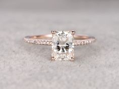 6x8mm Emerald Cut brilliant Moissanite Engagement ring Rose gold,Diamond wedding band,Gemstone Promise Bridal Ring,Ball-Prong,Anniversary by popRing on popRing
