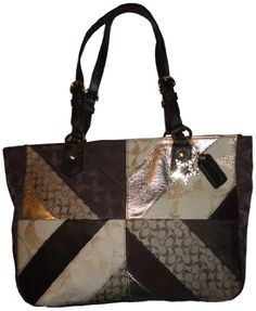 Womens Coach Purse Handbag Multicolored Patchwork Gallery Tote Khaki