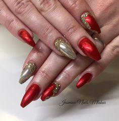 Lovely Metallic Red Poppet Nail Art