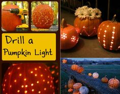 We don't do Jack o' lanterns, but for a pretty Fall look outside your home in October November, design holes in pumpkins with a drill. *IMPT TIP!* After you scoop out and carve pumpkin, dip it in lrg container of 2 t. bleach and 2 gallons of water. Bleach will kill bacteria and help pumpkin stay fresh longer. Drain upside down. Once completely dry, add 2 tT of vinegar + 1 t of lemon juice to a qt of water. Brush solution onto pumpkin to keep it looking fresh for weeks!
