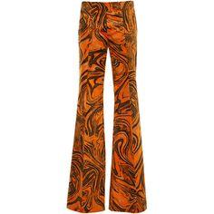 Printed Velvet Trousers | Moda Operandi ($1,500) ❤ liked on Polyvore featuring pants, velvet trousers, flare leg pants, velvet pants, flared leg pants and mid rise pants