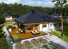 Projekt domu Astrid II G2 (mała) energo 99,44 m² - koszt budowy - EXTRADOM Single Floor House Design, Modern House Floor Plans, Best Home Interior Design, Home Design Decor, Design Ideas, Cool House Designs, Modern House Design, Single Storey House Plans, Residential Building Design