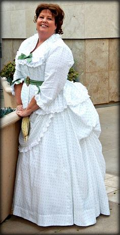 "My 1870s ""Tissot"" dress. A green swiss dot cotton voile. Details on my blog, Time Traveling in Costume"