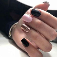 60 beautiful winter glitter accents for short nails # nail design short # Skincare . - 60 beautiful winter glitter accents for short nails # nail design short # - Gold Nails, Pink Nails, My Nails, Sparkle Nails, Matte Pink, Yellow Nails, Black Nails, Matte Black, Blush Pink
