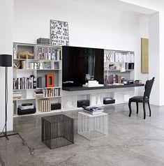 FLAT-C Bookcase/desk/media DESIGNER:> ANTONIO CITTERIO