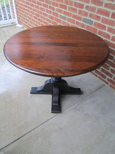 Pedestal Table - black base and wood top Dining Room, Dining Table, One Bedroom Apartment, Small Dining, Eat In Kitchen, Pedestal, Diy Furniture, Town House, Pennsylvania