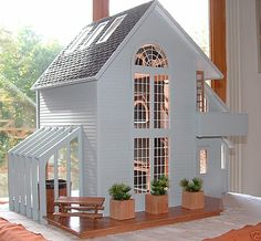 My Dream Dollhouse: Beautiful Contemporary Dollhouse - The Brookwood .no, diy, dollhouse, design Dollhouse Design, Dollhouse Kits, Victorian Dollhouse, Dollhouse Miniatures, Wooden Dollhouse, Mini Doll House, Barbie Doll House, Doll House Modern, Large Dolls House