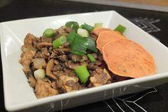 Onion and Tempeh Vegan Hoisin Stir Fry with Sweet Potato Slices