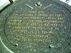 Plaque on the location of the first well dug on the island of Montréal by Jacques Archambault~ My Great Grandfather (Thank You Kelly Laura). Monument Signs, My Ancestors, Ancestry, Family History, Genealogy, Grandmothers, Descendants, Plaque, Monuments