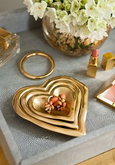 Hearts of gold  (guest room, top of vanity, gift)