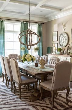 Dining room decor ideas - Transitional, eclectic tan and turquoise dining room in the Washington DC home of Christen Bensten of Blue Egg Brown Nest – photo: Helen Norman. House Of Turquoise, Turquoise Dining Room, Turquoise Accents, Beige Dining Room, Turquoise Curtains, Formal Dinning Room, Aqua, Blue Curtains, Dining Room Design