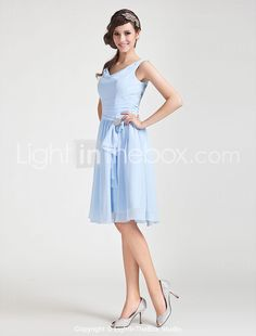 A-line Cowl Knee-length Chiffon Bridesmaid Dress - USD $ 97.99.... @Allie Downs and this one has like the same shape at the top and then middle part too...  oooh