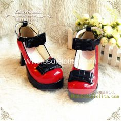 Gothic Black & Red Bows 7.5cm Chunky Heel Round Toe Spring Lolita Shoes | Know more >> http://www.wholesalelolita.com/gothic-black-red-bows-75cm-chunky-heel-round-toe-spring-lolita-shoes-p-14337.html
