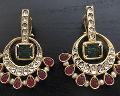 Stunning Temple Jewelry Mango Kundan Bangle/Kada Silver Single Bangle available in size , Bracelet Set, Bangle Bracelets, Kundan Bangles, Pakistani Party Wear, Temple Jewellery, Jewelry, Chiffon Saree, Mirror Work, Mango