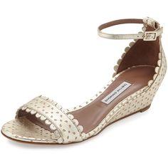 Tabitha Simmons Juniper Metallic Perforated Sandal ($725) ❤ liked on Polyvore