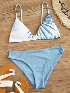 Tropical Print Triangle Bikini Swimsuit Check out this Tropical Print Triangle Bikini Swimsuit on Shein and explore more to meet your fashion needs! Bathing Suits For Teens, Summer Bathing Suits, Swimsuits For Teens, Cute Bathing Suits, Women Swimsuits, Pretty Swimsuits, 2 Piece Swimsuits, Summer Bikinis, Cute Bikinis
