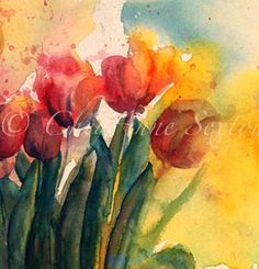flower art  dark and moody tulips watercolor by CheyAnneSexton