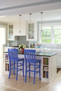 Simple, I like the lighting, the colored stools and the under cabinet book storage