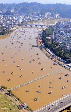 lanterns float across the nam river in Jinju, South Korea