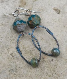 Teal Blue and Green Artisan Earrings//Loopy by ContentsJewelry, $30.00