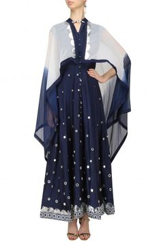 Roshni Chopra Navy Blue Mirror Work Anarkali Kurta and Cape Set #happyshopping #shopnow #ppus