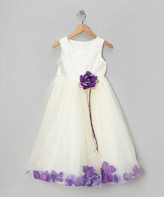 FLOWER GIRLS DRESS! Look at this #zulilyfind! Ivory & Purple Petal Silk Dress - Infant, Toddler & Girls #zulilyfinds