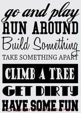 Go and Play Run Build Climb... Children's Wall Sticker Subway Art Playroom Wall Decor