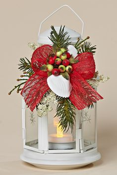 """8"""" White Metal Lantern, Removable Decor with Winter Berries, White Shells, Red Bow"""