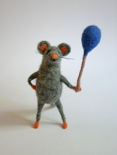 Felted Mouse Mouse With a Balloon Needle by FeltedAnimalsStudio