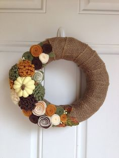Hey, I found this really awesome Etsy listing at https://www.etsy.com/listing/163097977/burlap-fall-wreath-with-felt-flowers