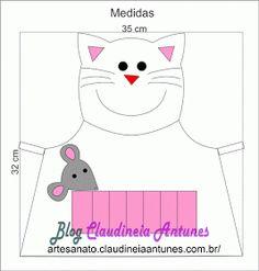 Claudineia Artesanato: Molde Avental de Gatinha Infantil