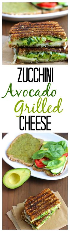 A garlicky, crispy, grilled cheese sandwich that's stuffed with avocado, zucchini, tomatoes, spinach and pesto spread! #adultgrilledcheese #lunch #cleaneating #gourmet