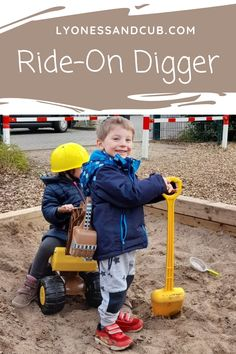 """[Ad] My son and his little companion love their ride-on digger with shovel. They worked their way through the sandbox on the playground and built many a castle or """"volcano."""" They made some tunnels and deep trenches. Here come the builders! Sand Toys, Digger, Sandbox, Pretend Play, Shovel, Toddler Toys, Paw Patrol, Volcano, Playground"""