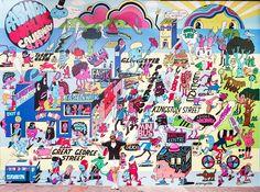 giant Jeremyville wall for Causeway Bay Fashion Walk, Hong Kong. 2014