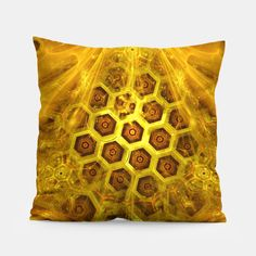 Golden Honeycombs Pillow, Live Heroes @liveheroes by @photography_art_decor. All product: https://liveheroes.com/en/brand/oksana-fineart #fashion #clothing #online #shop #gold #golden #honeycombs #honey #bee #summer #graphic #design #geometry #geometric #yellow #metalic #bright #shine #pattern #psychedelic #abstract #metalic #sun #abstract #briht #pattern  #trendy #stylish #fashionable #modern #awesome #amazing #clothes