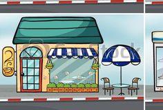 Clipart vectorial de tiendas - cuatro, diferente, tiendas, ciudad csp27635251 - Buscar Clip Art, Ilustración, EPS de imágenes gráficas