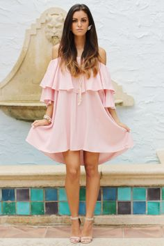 Blush off the shoulder ruffle dress