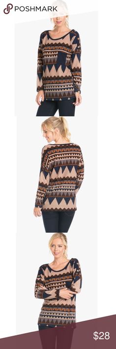 Navajo Button Print Top Adorable navy print top! Perfect for fall and winter! Tops Tees - Long Sleeve