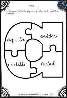 Aprendemos las vocales con este divertido puzzle - Imagenes Educativas Bilingual Education, Puzzles, Kindergarten, Symbols, Reading, Montessori, Cognitive Activities, Preschool Reading Activities, Games