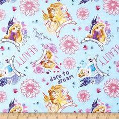 100/% Cotton Pink Fabric Disney Princesses 1//2 Metre Belle Etc *Free P /& P*