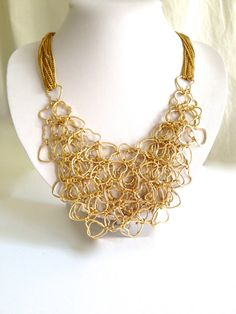 Lacy Gold Heart Necklace Bib Necklace by WOWTHATSBEAUTIFUL on Etsy