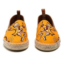Loewe X Paulas Ibiza motif-print canvas espadrilles ($425) ❤ liked on Polyvore featuring shoes, sandals, canvas shoes, orange espadrilles, loewe shoes, tan sandals and canvas espadrilles
